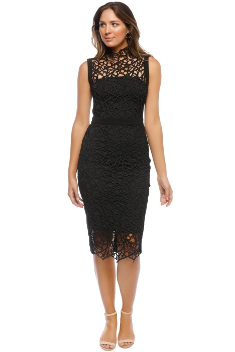 Rebecca Vallance - Sophia Lace Midi Dress - Black - Front