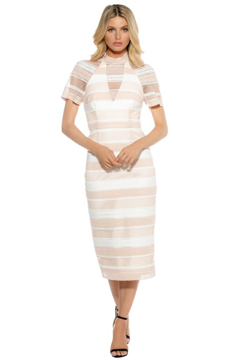 Rebecca Vallance - Testa High Neck High Midi Dress - Soft Pink - Front