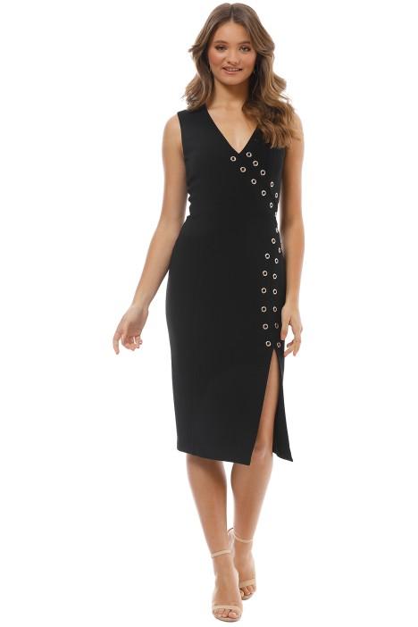 Rebecca Vallance - Adriatic Eyelet Midi Dress - Black - Front