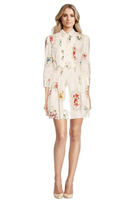 Redbalentino - Smocked Detail Floral Print - White - Front