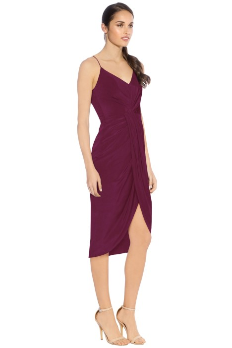 Saskia Drape Dress In Wine By Rodeo Show For Hire