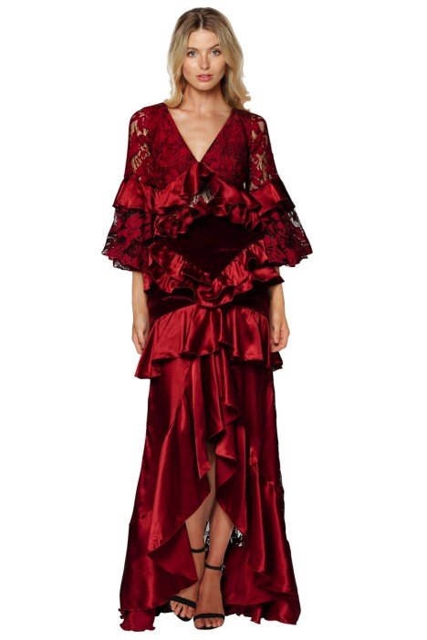 Romance Was Born - Crimson Magnolia Gown - Red - Front