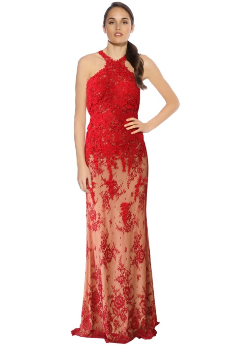 Rose Noir - Olivia Lace Gown - Red - Front