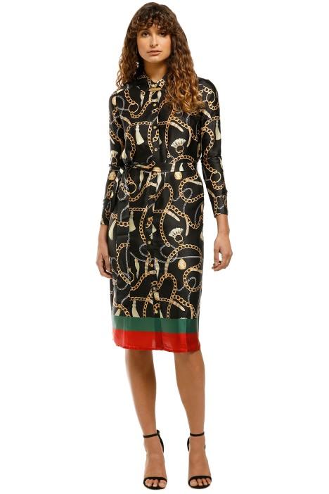 Sabine-Printed-Button-Down-Shirt-Dress-Black-Print-Front