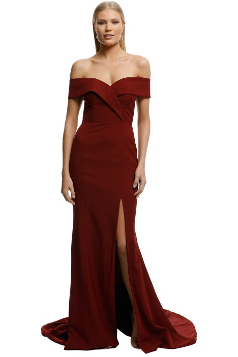 6646bfad4729 Gia Off Shoulder Gown in Wine by Samantha Rose for Hire | GlamCorner