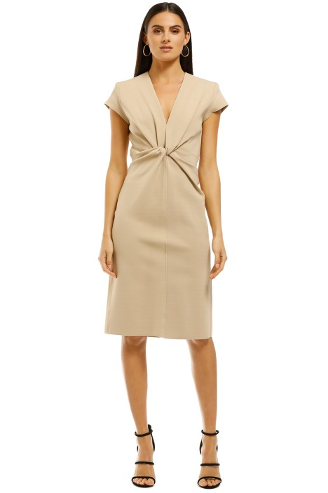 Scanlan-Theodore-Milano-Crepe-Turban-Dress-Sesame-Front