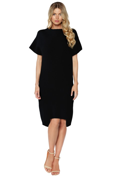 Scanlan Theodore - Black Crepe Knit Cocoon Dress - Front