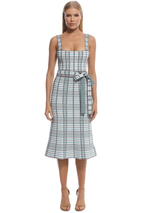 Scanlan Theodore - Crepe Knit Plaid Bralette Dress - Torba - Front