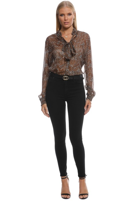 Scotch and Soda - Lurex Ruffle Bow Blouse - Animal Print - Front