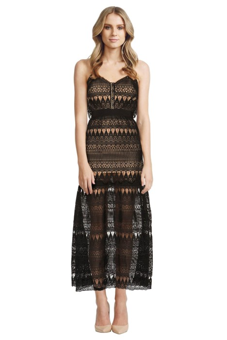 Self Portrait - Full Teardrop Guipure Patterned Dress  - Front