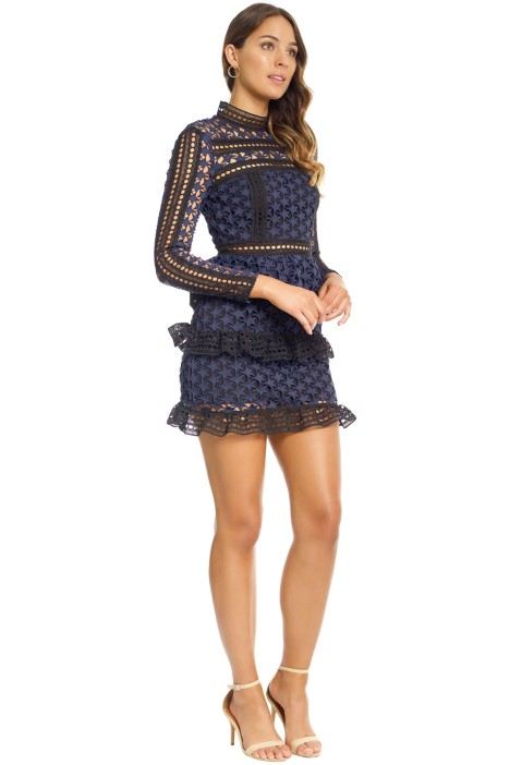 894c5f6b3319 High Neck Star Lace Paneled Dress in Navy by Self Portrait for Rent