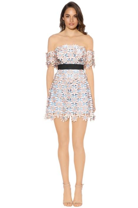Self Portrait - 3D Floral Mini Dress - Blue Pastel - Front