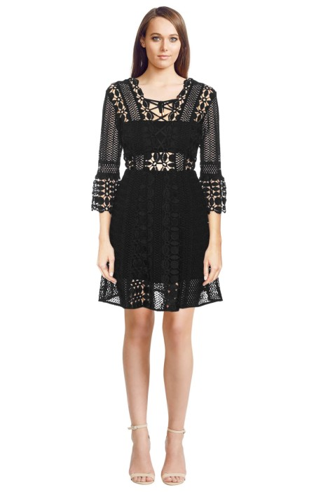 Self Portrait - A Line Lace Up Dress - Black - Front