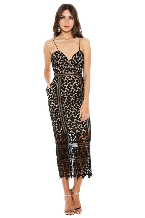 Self Portrait - Arabella Midi Dress - Black Nude - Front