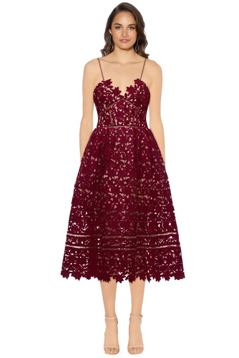 Self Portrait - Azaelea Dress - Burgundy - Front