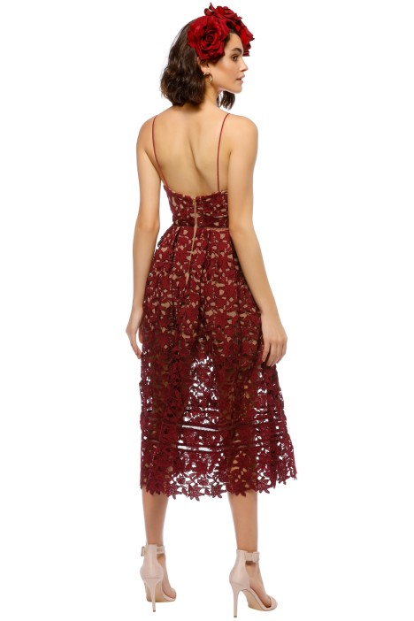a183f7d6ed104 Azalea Lace Midi Dress in Burgundy by Self Portrait for Rent