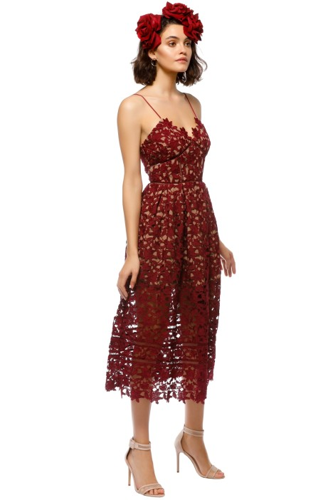 Azalea Lace Midi Dress in Burgundy by Self Portrait for Rent