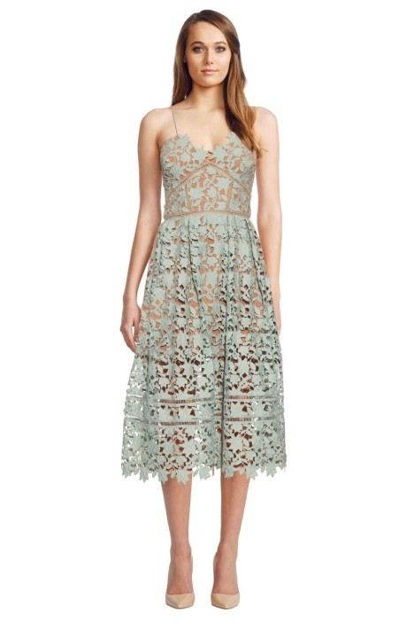 Self Portrait - Azalea Lace Midi Dress - Mint - Front