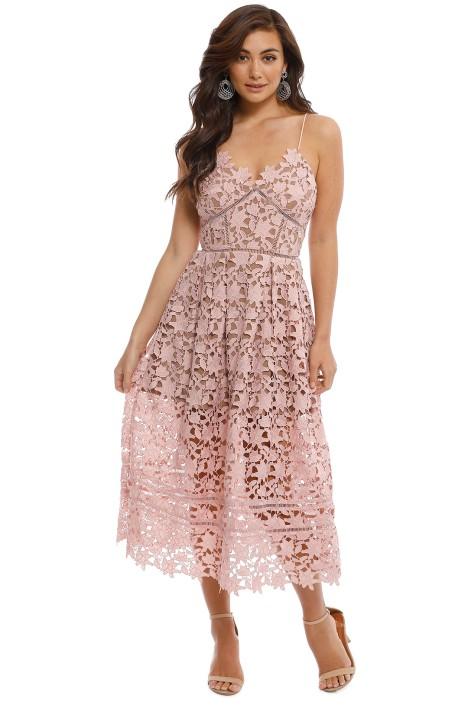ed4ee9c62799 Azalea Lace Midi Dress in Pale Pink by Self Portrait for Rent