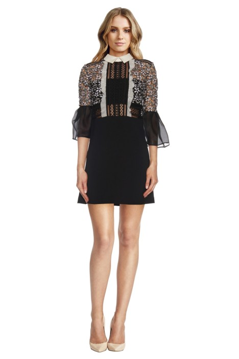 Self Portrait - Bell Sleeve Dress with Collar - Black - Front
