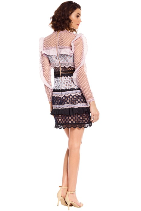 9e3a68ab5ad5 Self Portrait - Bellis Lace Trim Dress with Frilled Sleeves - Pink - Back