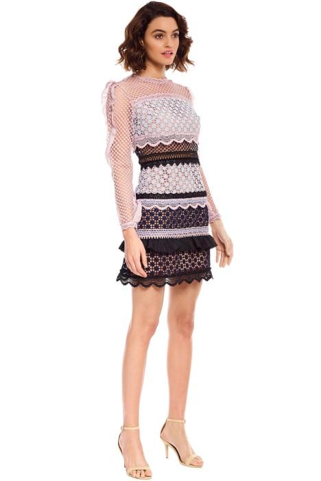 40ec915ea8d3 Self Portrait - Bellis Lace Trim Dress with Frilled Sleeves - Pink - Side