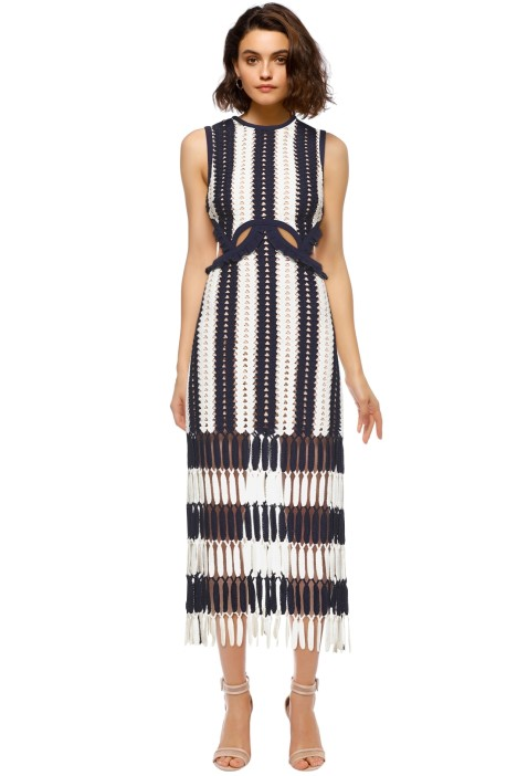 Self Portrait - Crochet Cut-Out Midi Dress - Navy - Front