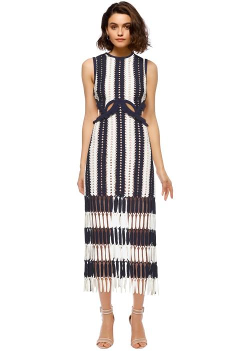 32cacf31823c Self Portrait - Crochet Cut-Out Midi Dress - Navy - Front