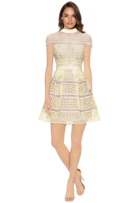 Self Portrait - Cross Hatched Panelled Mini Dress - Yellow - Front