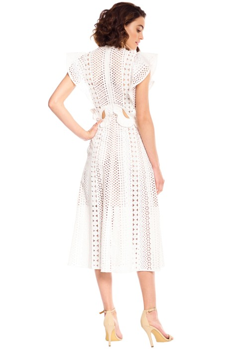 14ab635dd200 Self Portrait - Embroidered Cut-Out Midi Dress - White - Back