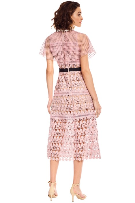 a1af2391adef Floral Vine Cape Midi Dress in Pink by Self Portrait for Hire