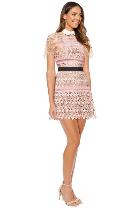 00938fee360c Self Portrait - Floral Vine Cape Mini Dress - Pink - Side