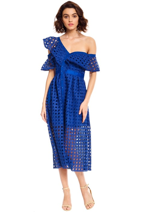 bd1c859b99273 Guipure Frill Dress in Cobalt Blue by Self Portrait for Rent