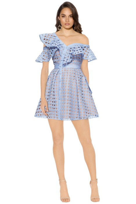 Self Portrait - Guipure Frill Mini Dress - Blue - Front