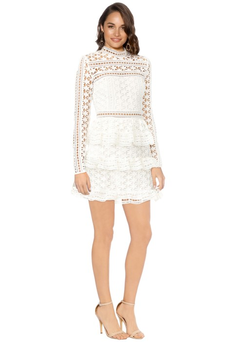 Self Portrait - High Neck Star Lace Panelled Dress - White - Front