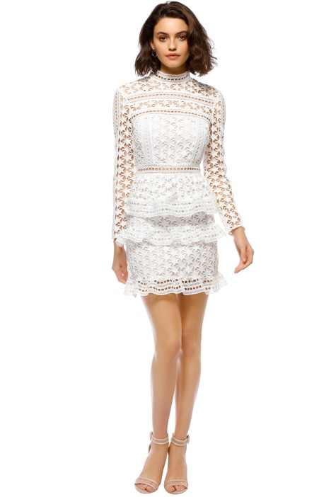 0a6c374a06da High Neck Star Lace Paneled Dress in White by Self Portrait for Rent