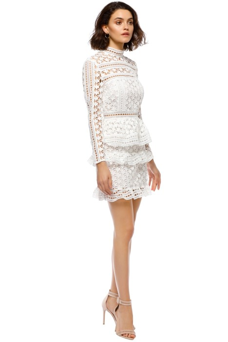 24624a35d2c High Neck Star Lace Paneled Dress in White by Self Portrait for Rent