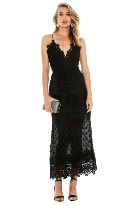 Self Portrait - Ivy Lace Trim Midi - Front - Black
