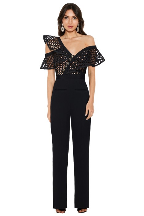 Self Portrait - Lace Frill Jumpsuit - Black - Front