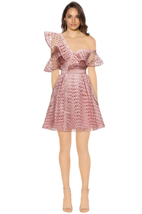 Self Portrait - Lace Frill Mini Dress - Pink - Front