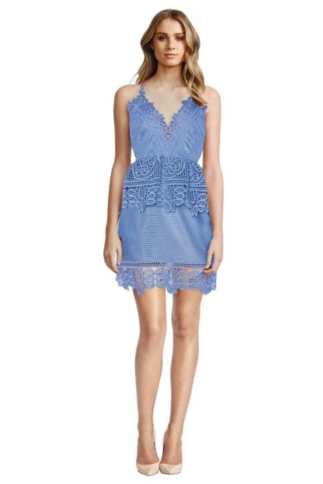 Self Portrait - Lace Trimmed Peplum Dress - Blue - Front
