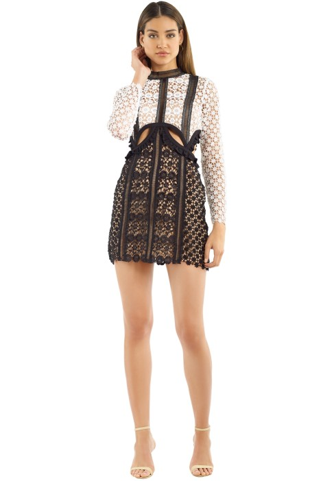 Self Portrait - Payne Cut Out Mini Dress - Black White - Front