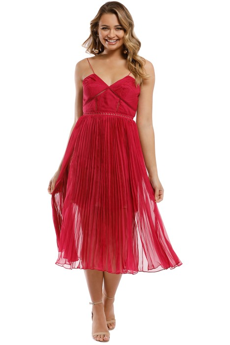 Self Portrait - Pleated Chiffon Midi Dress - Fuschia - Front