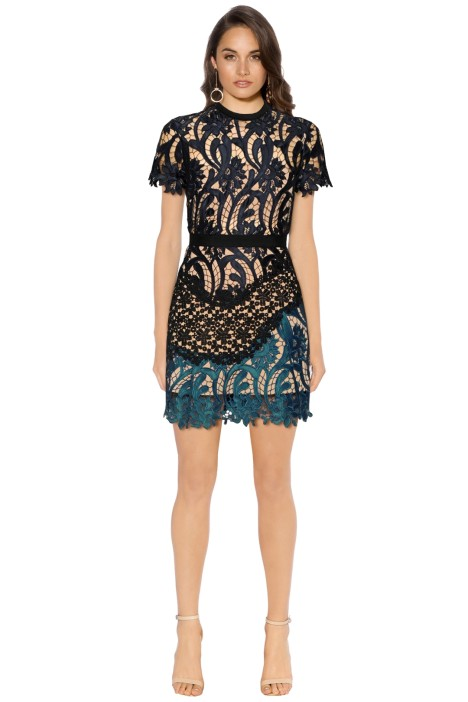 Self Portrait - Prairie Patchwork Lace Mini Dress - Navy Green - Front