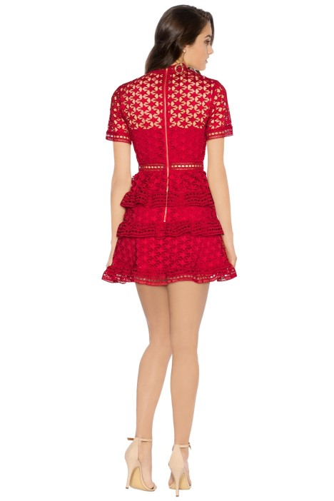 5c0a8767ed68 Red High Neck Star Lace Dress by Self Portrait for Rent
