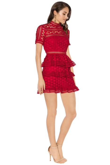 899a6f08f9e0 Self Portrait - Red High Neck Star Lace Panelled Dress - Red - Side