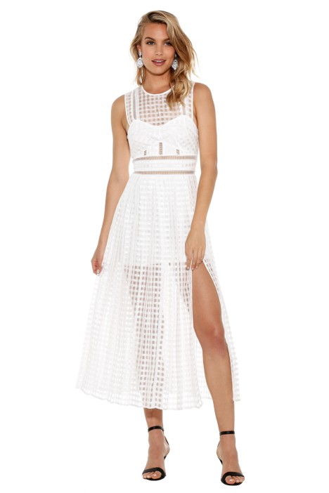Self Portrait - White Sheer Check Midi Dress - Front