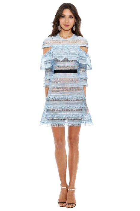 Self Portrait - Stripe Grid Mini Dress - Blue - Front