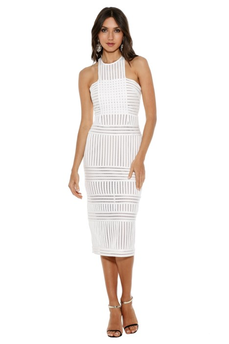 1d4bc290528a Self Portrait - Striped Mesh Column Dress - White - Front