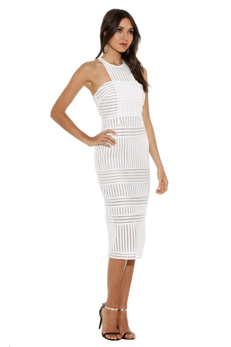 4496d9e7d059 Self Portrait - Striped Mesh Column Dress - White - Side